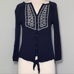 Lucky Brand embroidered button down font tie shirt